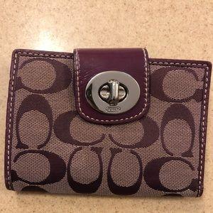 Coach purple bifold wallet
